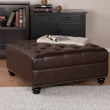 Brown Ottoman Brown Leather Tufted Ottoman Ecoel Paso Pertaining To Plans 8