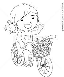 line art kid flower bicycle color page stock illustration