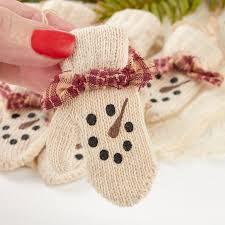 primitive knitted snowman mitten ornaments ornaments