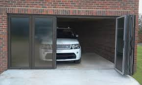 garage glass doors decorations wall mount side sliding garage doors in white tone