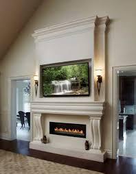 precast fireplace mantel under mounted lcd tv stylish precast