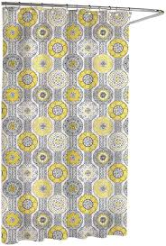 Gray And Yellow Bathroom by Amazon Com Kassatex Urban Tiles Shower Curtain Blue Grey 72 By