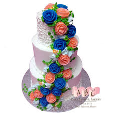 1430 3 tier wedding cake with pink u0026 blue flowers abc cake shop