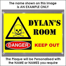 coolrideplates personalised children s bedroom door plaque sign personalised xl size boys teenagers danger keep out bedroom door plaque plaque size 16 5