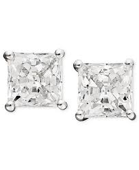 14k white gold earrings arabella 14k white gold earrings swarovski zirconia princess cut