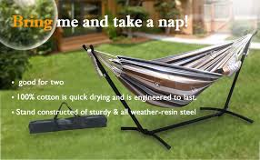 amazon com zeny double hammock 9 u0027 with space saving steel stand