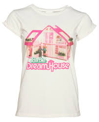 women u0027s barbie dream house rolled sleeve boyfriend t shirt