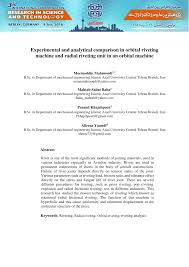 experimental and analytical comparison in orbital riveting machine