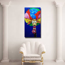 funny faces cartoon figure oil painting for kids room decoration