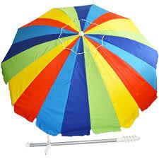 Beech Umbrella 8ft 20 Panel Beach Patio Upf 100 Umbrella Rainbow Beach