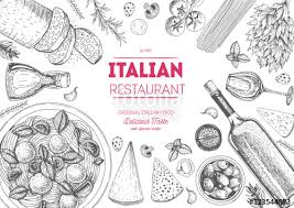 italian cuisine top view frame italian food menu design vintage