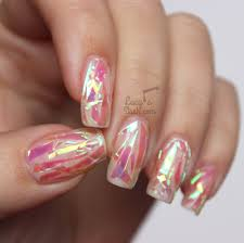 pink shattered glass nails with tutorial lucy u0027s stash