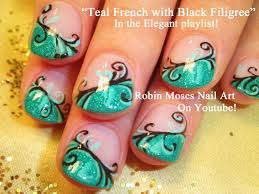nail art tutorial diy easy glitter nail design teal filigree