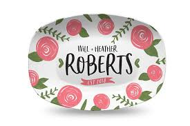 engraved platter wedding gift coral floral personalized platter wedding gift for gift for