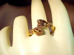 betrothal ring fede ring betrothal ring in 14 karat gold with small diamonds