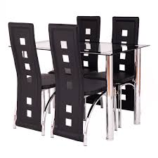 Black Glass Dining Table And Chairs Costway 5 Piece Dining Set Glass Table And 4 Chairs Home Kitchen