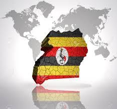 Images Of Uganda Flag Map Of Uganda With Ugandan Flag On A World Map Background Stock