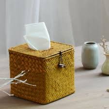 2017 wholesale pastoral style straw tissue box ornament storage