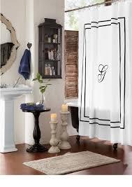 monogrammed shower curtain monogrammed bath accessories in black monogrammed shower curtain monogrammed bath accessories in black on white bring refinement to