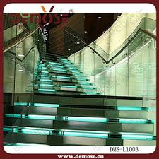 green led light tempered glass staircase glass step staircase