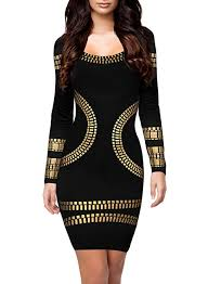 black and gold dress miusol women s cut out sleeves gold foil print