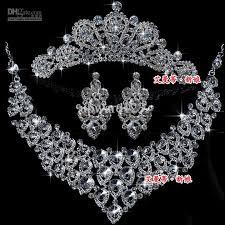 diamond necklace earring set images Charm wedding jewelry set diamond necklaces earrings tiaras set jpg