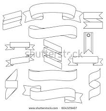 blank label template white curved ribbons set isolated vector stock vector 604329407