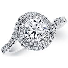 swirl engagement rings natalie k 18k white gold halo swirl diamond semi mount