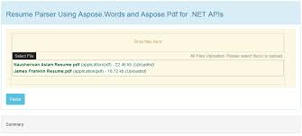 View Resumes Online by Office Resume Parser By Aspose For Net Sample In C For Visual