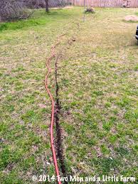 two men and a little farm burying hose for irrigation to raised beds