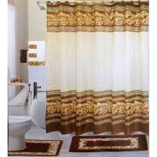 Bath Sets With Shower Curtains 18 Pc Bath Rug Set Chocolate Leaves Design Bathroom Shower Curtain