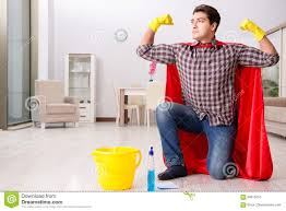 Floor Hero by The Super Hero Husband Cleaning Floor At Home Stock Photo Image