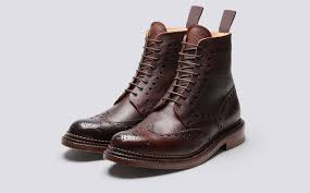 mens motorcycle sneakers fred men u0027s brogue boot in brown calf grain leather with a triple
