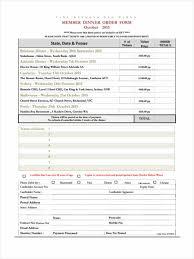 7 dinner order form sles free sle exle format