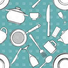 seamless background with kitchen utensils and tableware vector