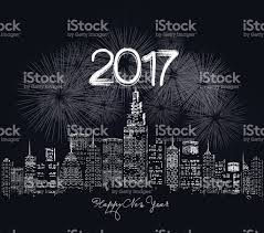 led new years happy new year 2017 written with sparkle firework and led stock