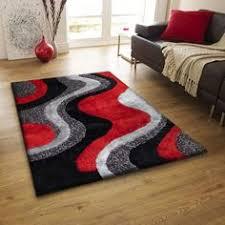 shag shaggy modern black red grey 5x8 area rug actual size 5 u00271 x 6