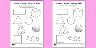 2d and 3d shapes colouring sheets 3d 2d 3d shapes shapes