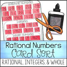classifying rational numbers card sort rational whole
