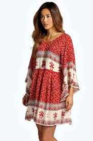 boo hoo clothing becca batwing border smock dress boohoo