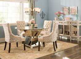 Dining Table And Fabric Chairs Fancy Glass Dining Table Comfy Cream Hampton Fabric Four Seat