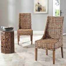 safavieh suncoast brown rattan u0026 mango wood side chair set of 2