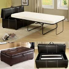 Ottoman Fold Out Bed Black Brown Leatherette Storage Ottoman Bench Foldable Bed