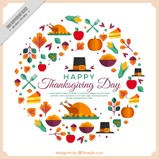 happy thanksgiving with geometric elements vector free