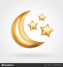 gold crescent moon balloon ramadan stock photo