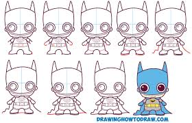 how to draw cute chibi batman from dc comics in easy step by step