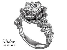 lotus flower engagement ring unique diamond lotus flower engagement ring vidar boutique