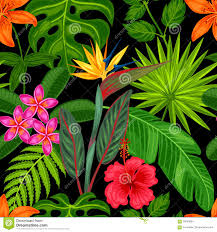 easy plants seamless pattern with tropical plants leaves and flowers