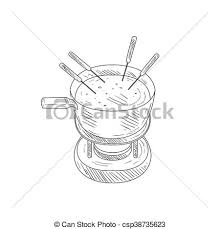 vector illustration of bowl with cheese fondue hand drawn