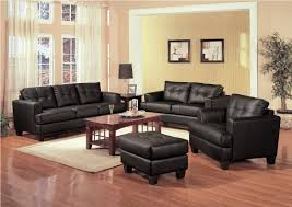 Chic Room Nuance Living Room Marvelous Black Leather Upholstered Sofa Design With